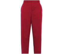Cropped Wool Straight-leg Pants Claret