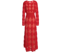 Crochet and jacquard-knit maxi dress