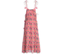 Tasseled floral-print cotton-gauze maxi dress