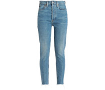 Cropped High-rise Slim-leg Jeans Mid Denim  9