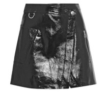 Wrap-effect Metallic Cracked-leather Mini Skirt Black