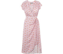 Marinette Gathered Floral-print Satin-jacquard Dress Baby Pink