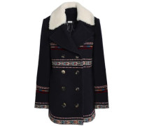Shearling-trimmed Embroidered Wool-blend Jacket Midnight Blue