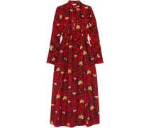 Printed Silk Crepe De Chine Dress Red