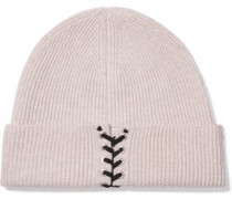 Lace-up cashmere beanie