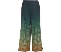 Woman Dégradé Houndstooth Twill Wide-leg Pants Dark Green