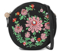 Le Cercle Embroidered Canvas And Leather Shoulder Bag Black Size --