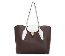 Two-tone Textured-leather Tote Chocolate Size --