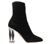 + Noor Fares So Noor Embellished Suede Sock Boots Black
