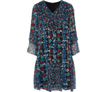 Ruffled Floral-print Silk-blend Georgette Mini Dress Blue