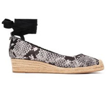 Snake-print Satin Wedge Espadrilles Black