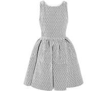 Embroidered Velvet Mini Dress Off-white