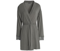 Sonia lace-trimmed stretch-cotton jersey robe
