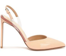 Pvc-trimmed Patent-leather Slingback Pumps Blush