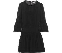 Woman Crochet-trimmed Swiss-dot Georgette Mini Dress Black
