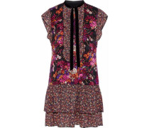 Ruffled floral-print jacquard and chiffon mini dress