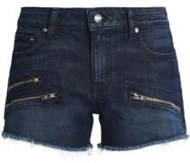 Zip-detailed frayed denim shorts