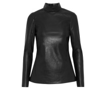 Faux Leather Top Black