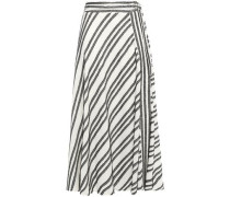 Frayed Striped Cotton-blend Midi Skirt Ivory