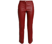 Cropped leather slim-leg pants