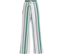 Striped Linen And Silk-blend Twill Wide-leg Pants White