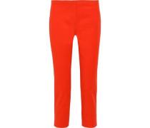 Woman Cropped Cotton-blend Cady Slim-leg Pants Bright Orange