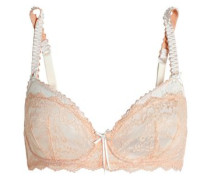 Masquerade Muse Paneled Lace Underwired Soft-cup Bra Peach   G