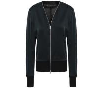 Paneled Satin-crepe And Knitted Jacket Black