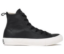 Leather High-top Sneakers Black