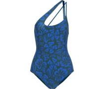Pahoa One-shoulder Printed Swimsuit Royal Blue