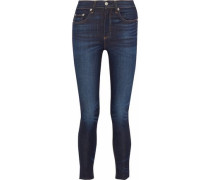 Cropped faded high-rise skinny jeans