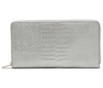 Croc-effect Leather Wallet Silver Size --