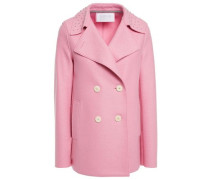 Woman Double-breasted Studded Wool-felt Jacket Baby Pink