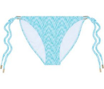 Cancun Printed Low-rise Bikini Briefs Turquoise