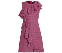 Ruffle-trimmed houndstooth wool dress
