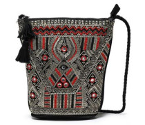Embellished Canvas And Suede Shoulder Bag Black Size --