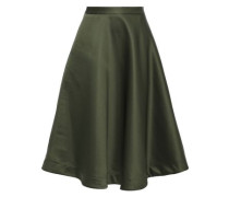 Flared Satin Skirt Dark Green