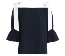 Clark cold-shoulder bow-detailed pinstriped crepe top