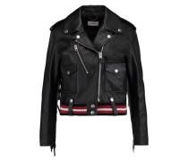 Fringed appliquéd leather biker jacket