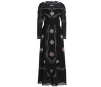 Embroidered cotton-voile midi dress