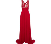 Lace-paneled Pleated Cotton-blend Chiffon Gown Crimson