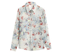Floral-print Silk-chiffon Shirt Light Gray Size 12