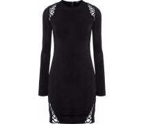 Lace-up stretch-crepe mini dress