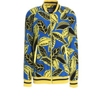Printed faille bomber jacket