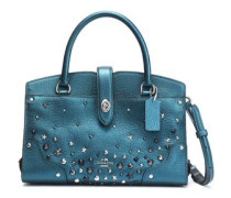 Studded metallic leather shoulder bag