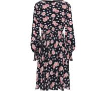 Shirred Floral-print Crepe Dress Black