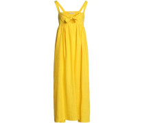 Bow-detailed cutout linen maxi dress