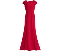 Grosgrain-trimmed duchesse-satin gown