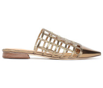 Woman Eddi Embellished Caged Mirrored-leather Mules Gold