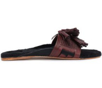Noona Shearling-lined Tasseled Braided Leather Slides Grape